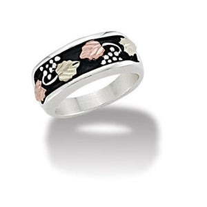 Sterling Silver Black Hills Gold Wide Antiqued Ring - Jewelry