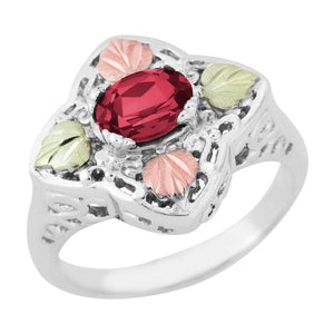 Sterling Silver Black Hills Gold Great Garnet Ring - Jewelry