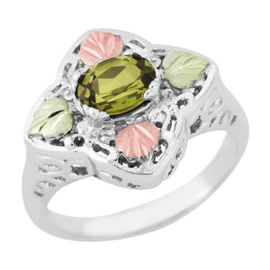 Sterling Silver Black Hills Gold Great Peridot Ring - Jewelry