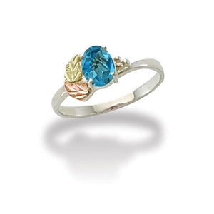 Sterling Silver Black Hills Gold Bright Blue Topaz Ring - Fortune And Glory - Made in USA Gifts