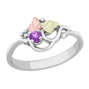 Sterling Silver Black Hills Gold Amethyst Foliage Ring - Jewelry