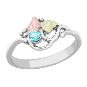 Sterling Silver Black Hills Gold Aquamarine Foliage Ring - Jewelry