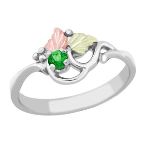 Sterling Silver Black Hills Gold Emerald Foliage Ring - Jewelry