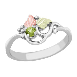 Sterling Silver Black Hills Gold Peridot Foliage Ring - Jewelry