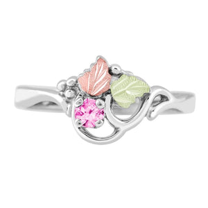 Sterling Silver Black Hills Gold Pink Tourmaline Foliage Ring - Jewelry