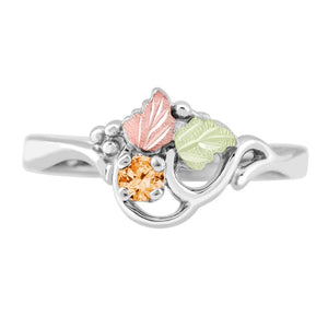 Sterling Silver Black Hills Gold Citrine Foliage Ring - Jewelry