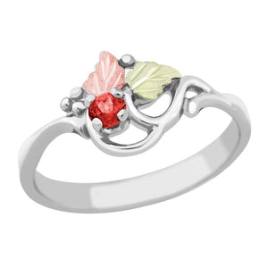 Sterling Silver Black Hills Gold Idaho Garnet Ring I - Jewelry