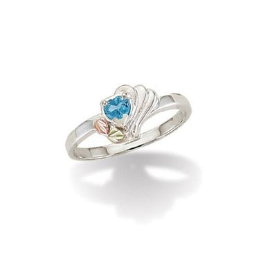 Sterling Silver Black Hills Gold Blue Topaz Heart Ring - Fortune And Glory - Made in USA Gifts