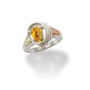 Sterling Silver Black Hills Gold Grand Citrine Ring - Jewelry