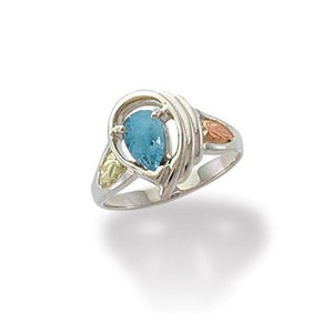 Sterling Silver Black Hills Gold Pear Cut Blue Topaz Ring - Fortune And Glory - Made in USA Gifts