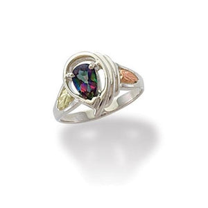 Sterling Silver Black Hills Gold PearCut Mystic Fire Topaz Ring - Jewelry