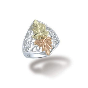 Sterling Silver Black Hills Gold Opposing Leaves Ring - Jewelry
