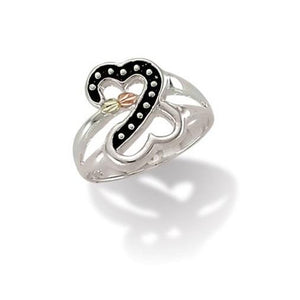 Sterling Silver Black Hills Gold Fancy Heart Ring - Jewelry