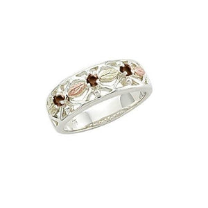 Sterling Silver Black Hills Gold Triple Garnet Ring - Jewelry