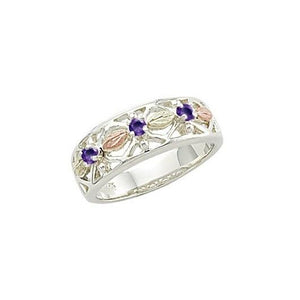 Sterling Silver Black Hills Gold Triple Amethyst Ring - Jewelry