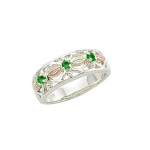 Sterling Silver Black Hills Gold Triple Emerald Ring - Jewelry