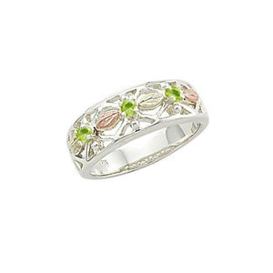 Sterling Silver Black Hills Gold Triple Peridot Ring - Jewelry