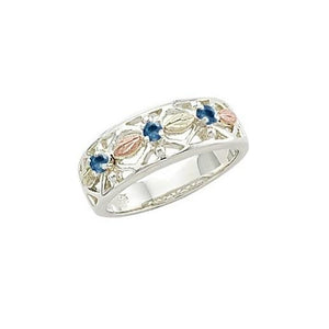 Sterling Silver Black Hills Gold Triple Sapphire Ring - Jewelry