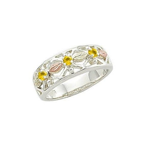 Sterling Silver Black Hills Gold Triple Citrine Ring - Jewelry