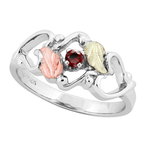 Sterling Silver Black Hills Gold Garnet Foliage Ring III - Jewelry