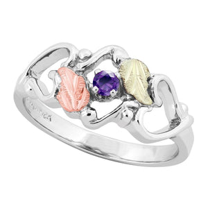 Sterling Silver Black Hills Gold Amethyst Foliage Ring III - Jewelry