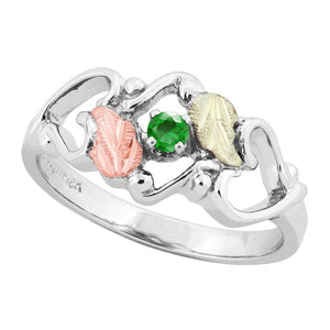 Sterling Silver Black Hills Gold Emerald Foliage Ring III - Jewelry
