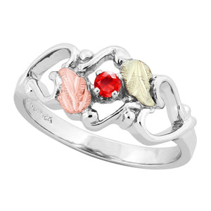 Sterling Silver Black Hills Gold Ruby Foliage Ring III - Jewelry