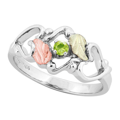 Sterling Silver Black Hills Gold Peridot Foliage Ring III - Jewelry