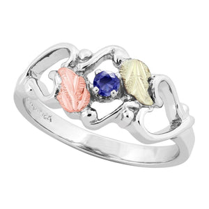 Sterling Silver Black Hills Gold Sapphire Foliage Ring III - Jewelry
