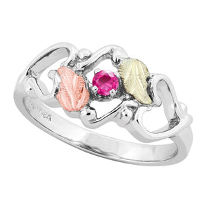 Sterling Silver Black Hills Gold Pink Tourmaline Foliage Ring III - Jewelry