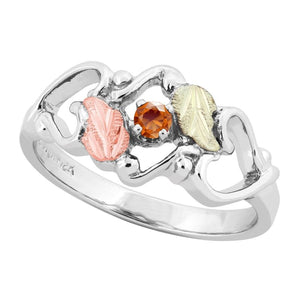Sterling Silver Black Hills Gold Citrine Foliage Ring III - Jewelry