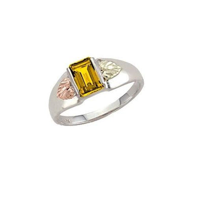 Sterling Silver Black Hills Gold Square Citrine Ring - Jewelry