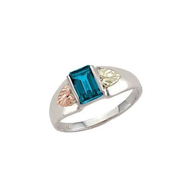 Sterling Silver Black Hills Gold Square Blue Topaz Ring - Fortune And Glory - Made in USA Gifts