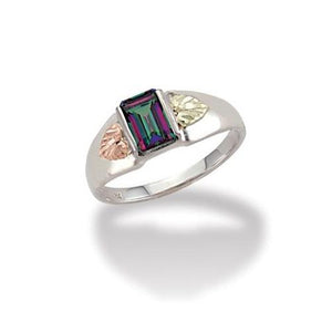 Sterling Silver Black Hills Gold Square Mystic Fire Topaz Ring - Jewelry