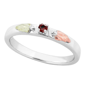 Sterling Silver Black Hills Gold Garnet Foliage Ring II - Jewelry