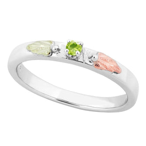 Sterling Silver Black Hills Gold Peridot Foliage Ring II - Jewelry