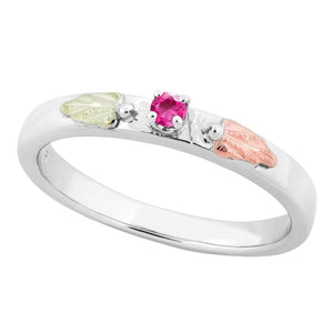 Sterling Silver Black Hills Gold Pink Tourmaline Foliage Ring II - Jewelry