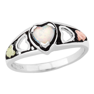 Sterling Silver Black Hills Gold Heart of Opal Ring - Jewelry