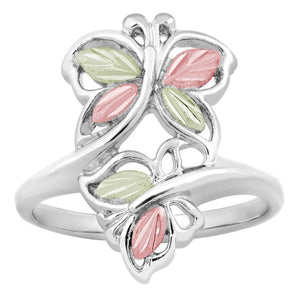 Sterling Silver Black Hills Gold Modern Butterfly Ring - Jewelry