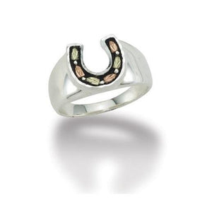 Sterling Silver Black Hills Gold Antiqued Horseshoe Ring - Jewelry