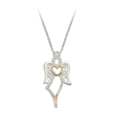 Sterling Silver Black Hills Gold Angel Pendant - Jewelry