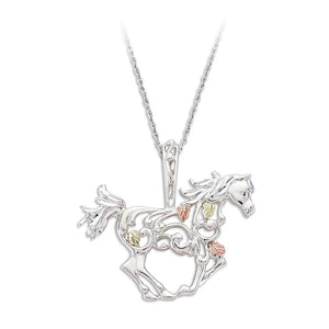 Sterling Silver Black Hills Gold Horse Pendant - Jewelry