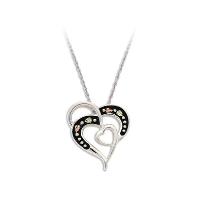 Sterling Silver Black Hills Gold Antiqued Hearts Pendant - Jewelry
