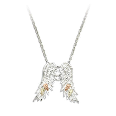 Sterling Silver Black Hills Gold Angel Wings Pendant - Jewelry