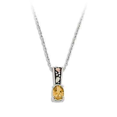 Sterling Silver Black Hills Gold Antiqued Citrine Pendant - Jewelry