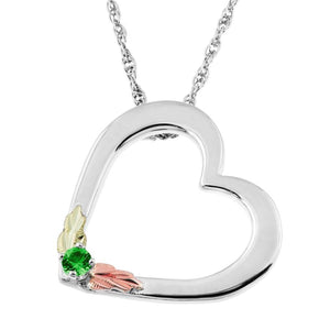 Sterling Silver Black Hills Gold Heart Emerald Pendant - Jewelry