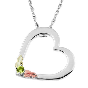 Sterling Silver Black Hills Gold Heart Peridot Pendant - Jewelry