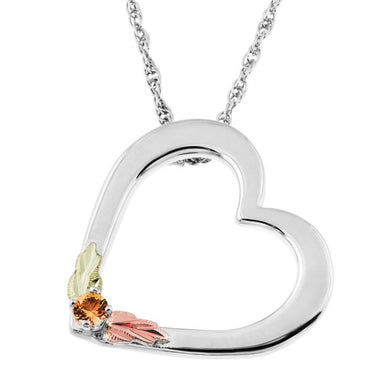 Sterling Silver Black Hills Gold Heart Citrine Pendant - Jewelry
