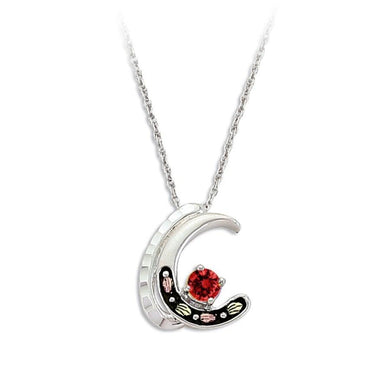 Sterling Silver Black Hills Gold Garnet Crescent Pendant - Jewelry