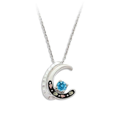 Sterling Silver Black Hills Gold Blue Topaz Crescent Pendant - Jewelry